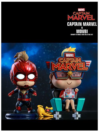 Captain Marvel and Movbi Cosbaby (S) Bobble-Head Collectible Set - COSB546