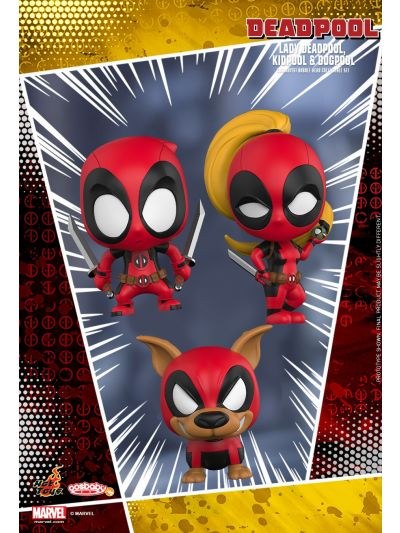 Cosbaby Lady Deadpool, Kidpool & Dogpool Cosbaby (S) Bobble-Head Collectible Set - COSB486