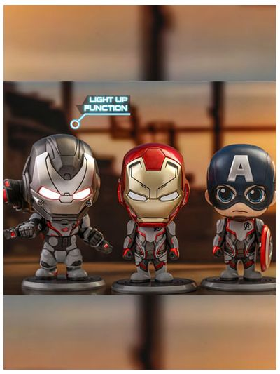Iron Man, Captain America, War Machine (Team Suit) Cosbaby (S) Bobble-Head Collectible Set - COSB549